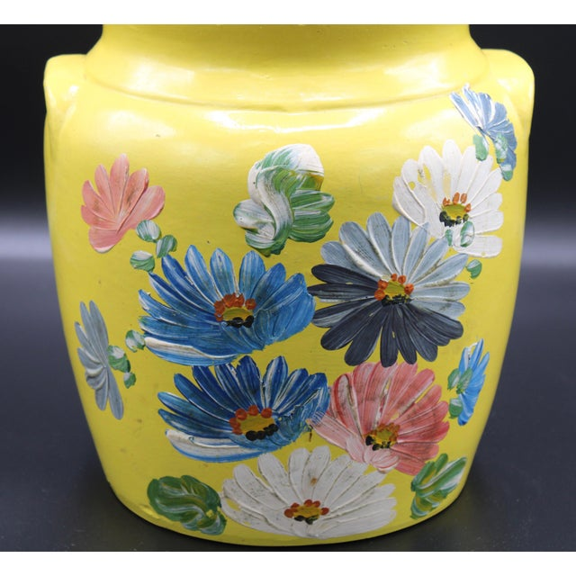 Vintage Yellow Hand Painted Floral Pottery Jar For Sale - Image 10 of 13