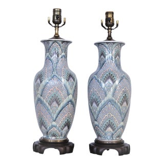 Vintage Peacock Phoenix Bird Feather Ceramic Porcelain Chinese Table Lamps -Pair- Asian Mid Century Modern Boho Chic Tropical Coastal Palm Beach Qing For Sale