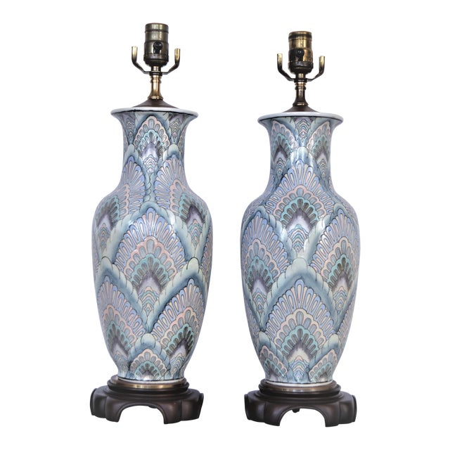 Vintage Peacock Phoenix Bird Feather Ceramic Porcelain Chinese Table Lamps -Pair- Asian Mid Century Modern Boho Chic Tropical Coastal Palm Beach Tree For Sale