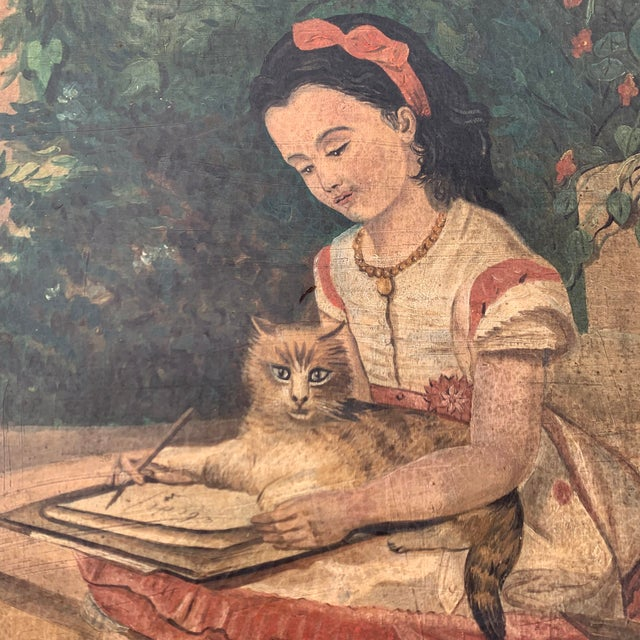 """Blue 19th CenturyFolk Art Paintings, """"Learning to Read and to Write"""" With a Dog and a Cat - a Pair For Sale - Image 8 of 13"""