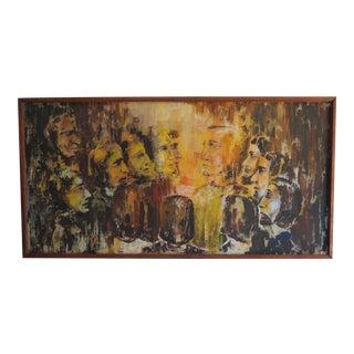 Jesus & Disciples Religous Folk Art Oil Painting For Sale