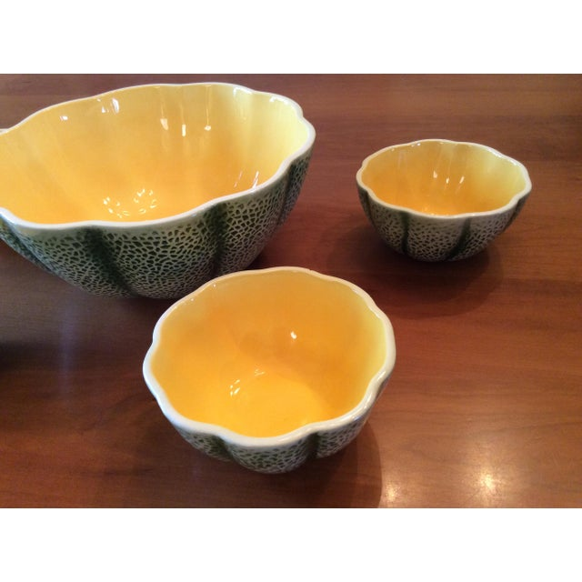 Figurative 1960s Majolica Cantelope Salad Bowls - Set of 5 For Sale - Image 3 of 12