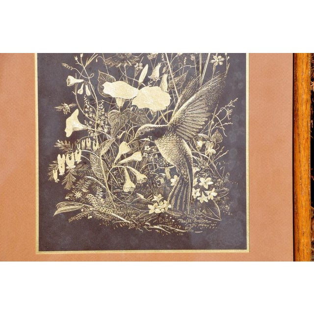 Figurative Paul M. Breeden Hummingbirds Drinking Nectar Gold Foil Etching For Sale - Image 3 of 6