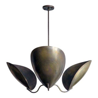 Gallery L7 'Chiton-3' Raw Brass Chandelier For Sale