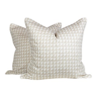 Cream and Ivory Linen Houndstooth Pillows, a Pair For Sale