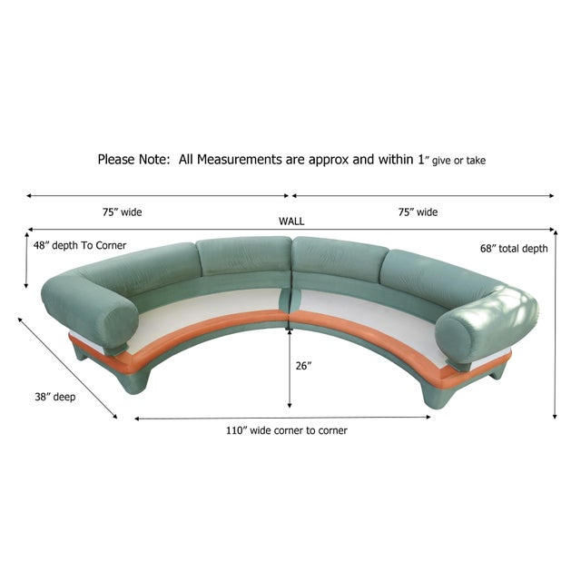 1970s Contemporary Circular Curved Ultrasuede Sectional Sofa For Sale - Image 12 of 12