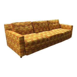 1970s Gold + Orange Optic Pattern 3-Seat Sofa by Marge Carson For Sale