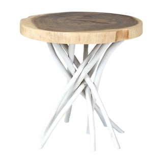 Cross-Cut Trunk Joeslin Round Accent Table