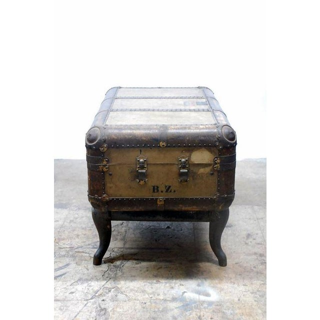 Early 20th Century Indestructo Trunk on Industrial Stand For Sale - Image 4 of 8