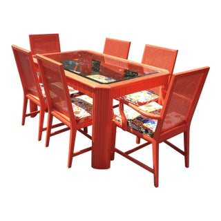 Century 1970s Glass Top Dining Table & 6 Chairs Set For Sale
