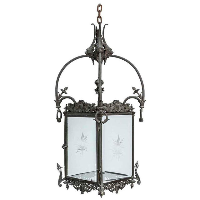 1930s Bronze Lantern With Etched Glass For Sale - Image 9 of 9