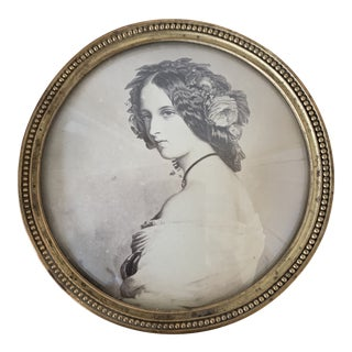 Antique English Round Photo Frame With Convex Glass For Sale