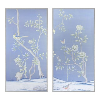 """Jardins en Fleur """"Furness"""" Chinoiserie Hand-Painted Silk Diptych by Simon Paul Scott in Burnished Silver Frame - a Pair For Sale"""