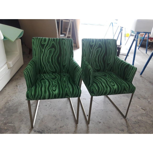 Malachite Upholstered Arm Chairs - A Pair - Image 5 of 5