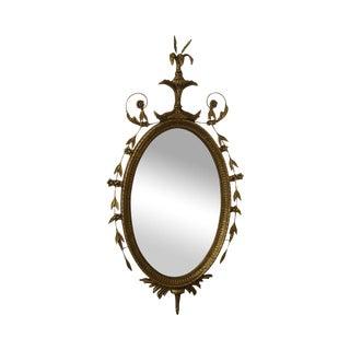 Friedman Bros George III Hepplewhite Style Oval Gilt Frame Mirror For Sale