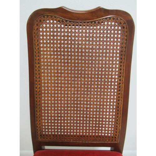 Caning Vintage Thomasville Solid Cherry Queen Anne Caned Side Chair For Sale - Image 7 of 11