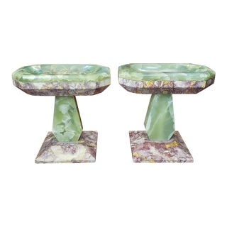 Late 19th Century French Marble and Onyx Tazzas - a Pair For Sale
