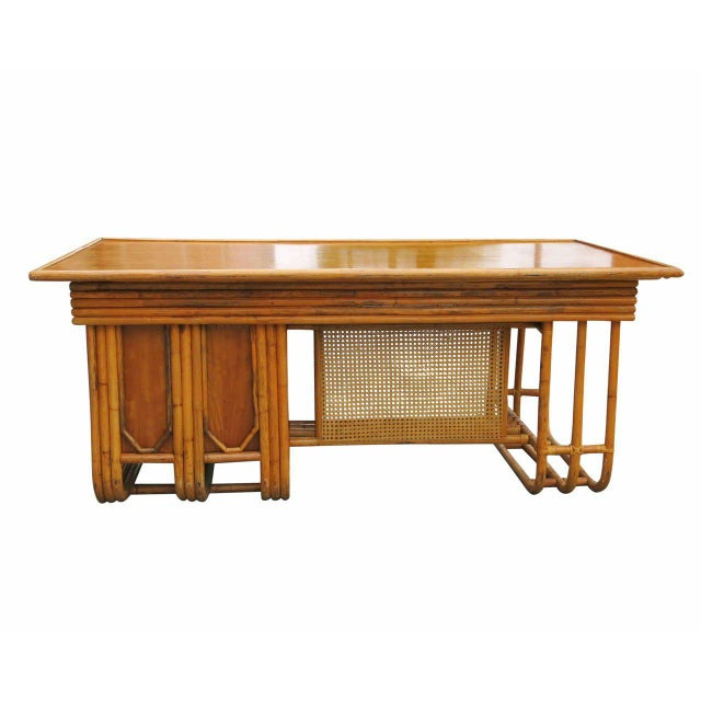 Restored Large Jean Royère Style Streamline Rattan Executive Desk For Sale In Los Angeles - Image 6 of 8