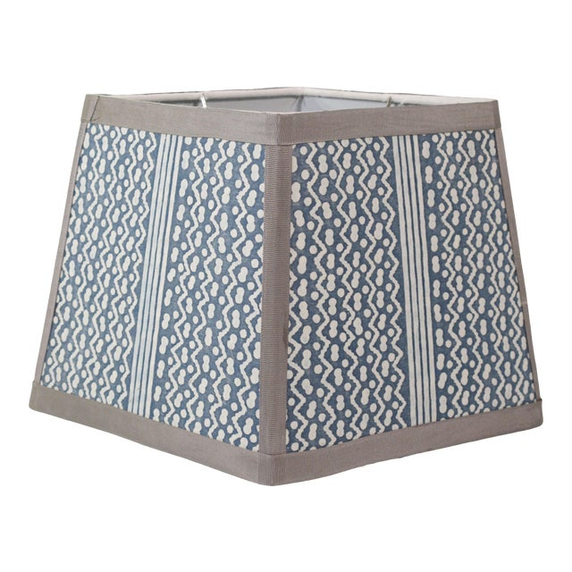 Navy and White Fortuny 'Tapa' Lampshade For Sale