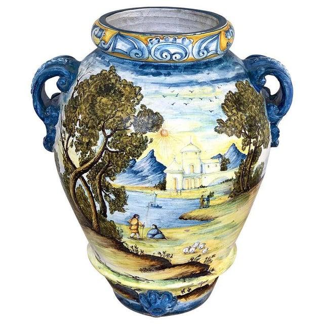 Italian Majolica Landscape Olive Oil Jar/ Jardinière For Sale - Image 12 of 12