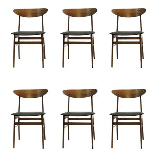Mid-Century Modern Danish Th. Harlev Dining Chairs - Set of 6 For Sale