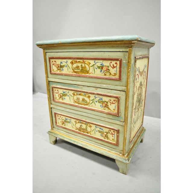 Antique Italian Venetian Blue Painted 3 Drawer Commode Chest of Drawers For Sale - Image 12 of 13