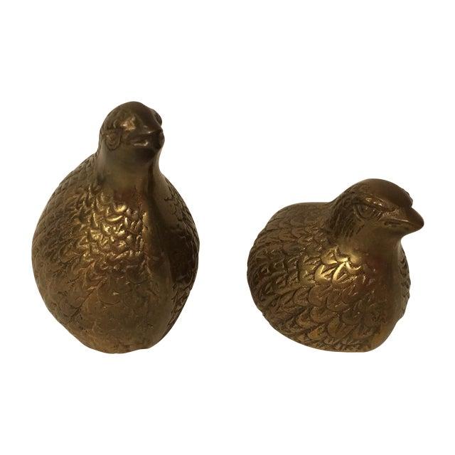 Vintage Brass Quails - A Pair - Image 1 of 6