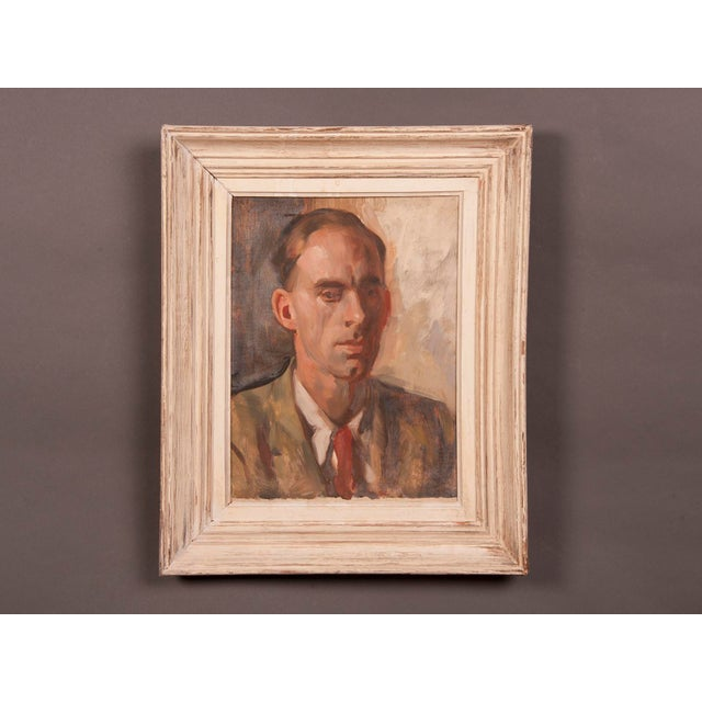 An oil on canvas painting of a gentleman in a pensive pose depicting the head and shoulders by Victor Hume Moody from...
