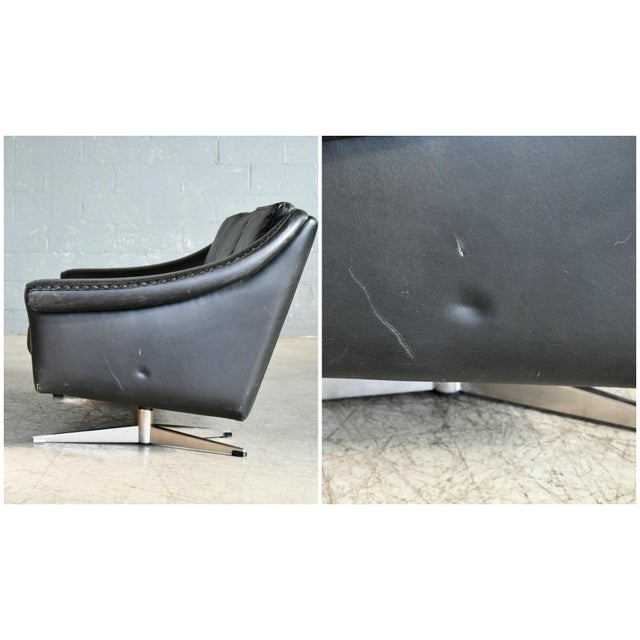 Danish Airport Style Sofa Model Matador in Black Leather by Eran in 1966 For Sale - Image 12 of 13