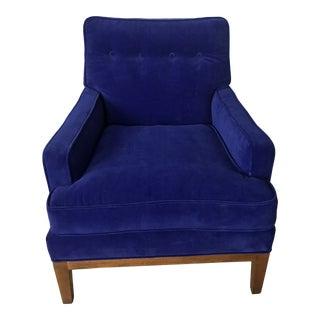 Mid Century Blue Velvet Chair by Baker Furniture For Sale