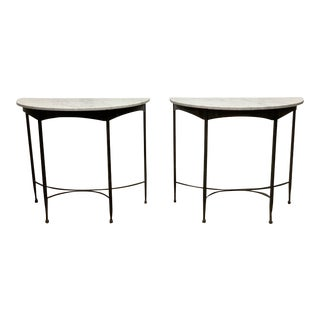 Pair French Wrought Iron and Carrara Marble-Top Demilune Tables For Sale