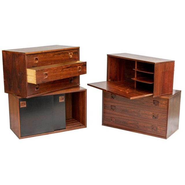 Rosewood Impressive Danish Modern Rosewood Wall Unit For Sale - Image 7 of 9