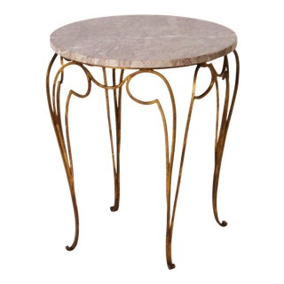Small French Marble Top Round Table With Gilded Metal Legs C. 1950 For Sale