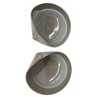 Japanese Clay Glazed Work of Art Rice Bowls - 2 For Sale