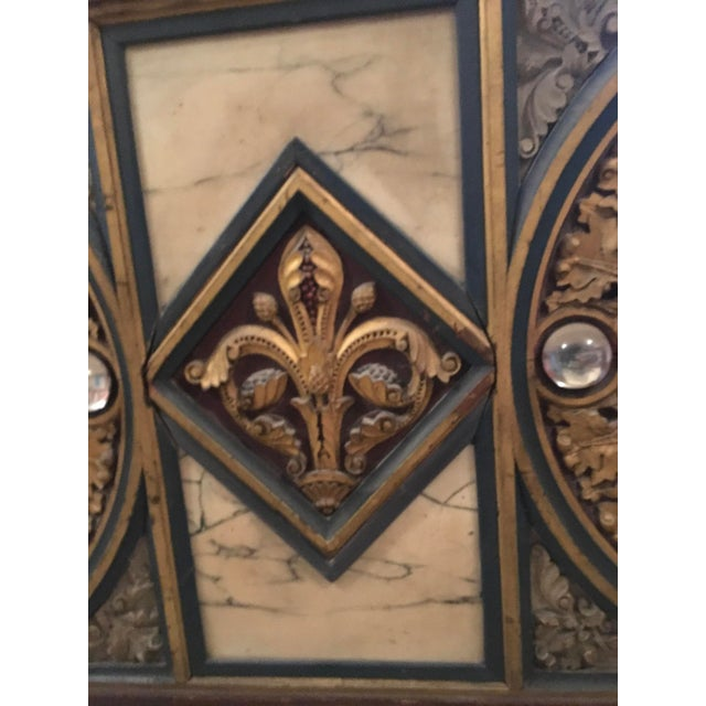 Glass 18th Century Antique French Polychrome Wood, Marble, & Glass Panel For Sale - Image 7 of 13