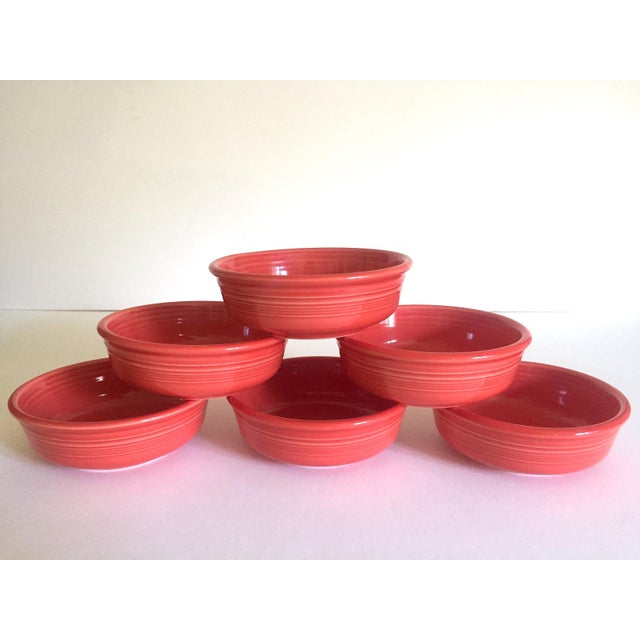 This set of six vintage 1980's Fiesta Ware Homer Laughlin persimmon coral coupe cereal soup bowls are a very cool classic...