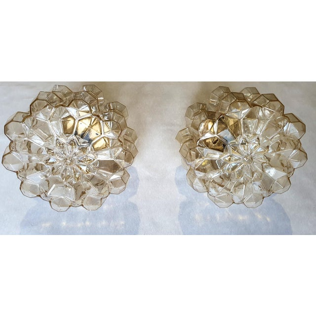 1960s Mid-Century Modern Limburg Glass & Brass Signed Flush Mounts/Sconces - a Pair For Sale - Image 5 of 13