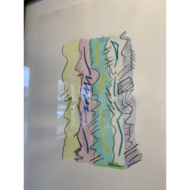 1980s 1980s Postmodern Mixed Media Drawing For Sale - Image 5 of 8