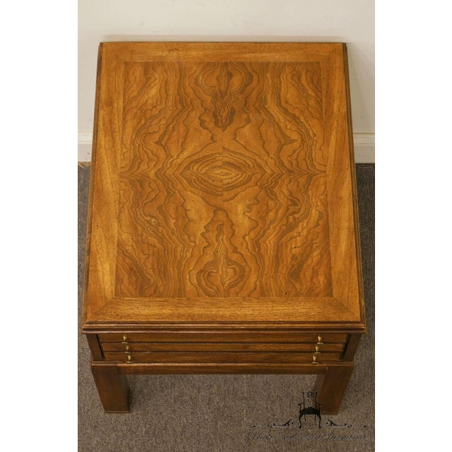 Late 20th Century 20th Century Contemporary Lane Furniture Bookmatched Walnut End Table For Sale - Image 5 of 13