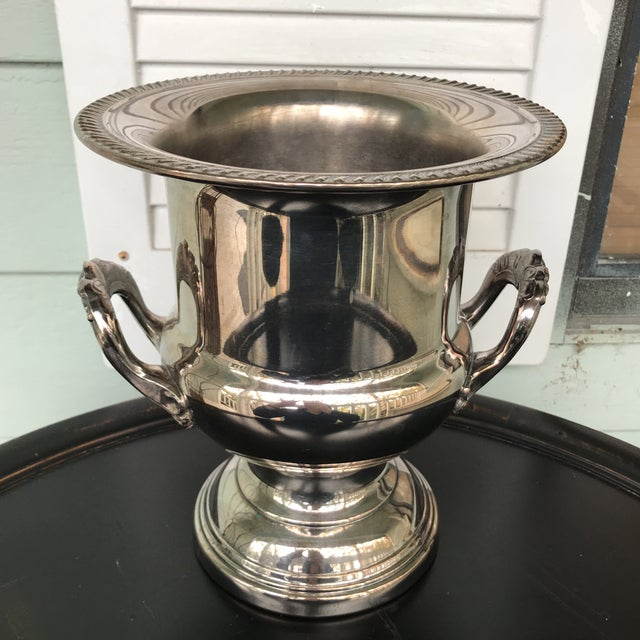 Metal Silverplate Champagne Bucket For Sale - Image 7 of 7