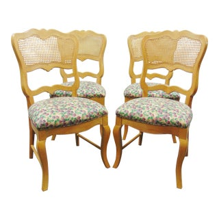 French Style Caned & Upholstered Side Chairs - Set of 4 For Sale