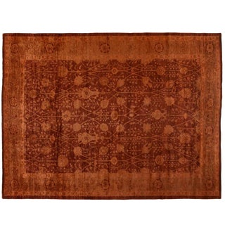 Wool Floral Patterned Overdyed Rug - 10′9″ × 14′4″
