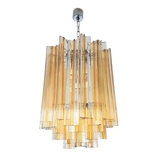 Venini mid century Triedri Glass Chandelier Italy, transparent with Amber Color Lines