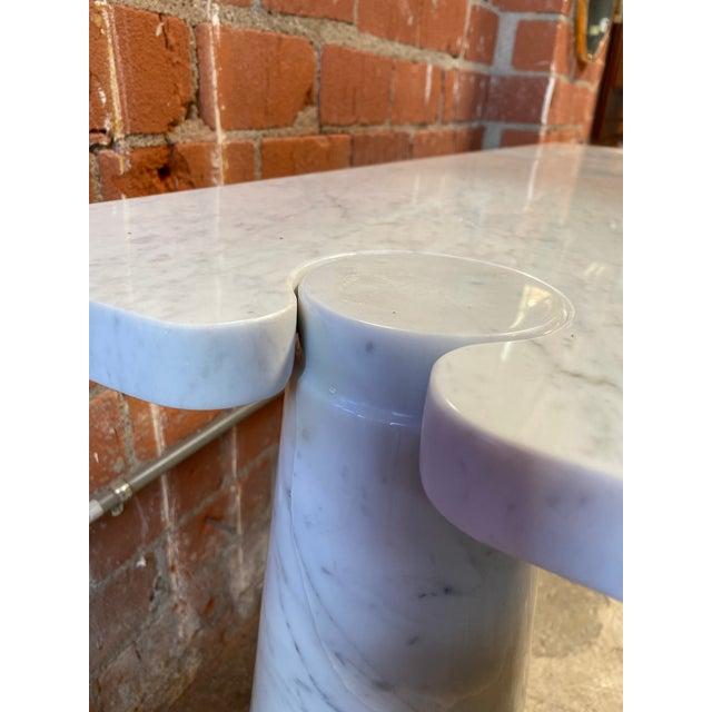 Stone 1971 Angelo Mangiarotti Eros White Carrara Marble Console Table For Sale - Image 7 of 10