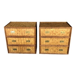 Vintage Faux Bamboo Rattan Woven Chests- a Pair