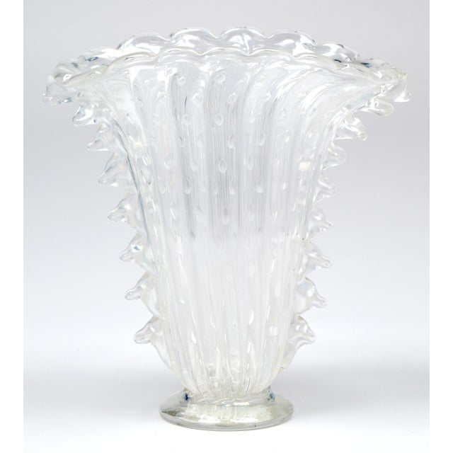 """Murano glass vase of crystal clear """"pulegoso"""" bubbled glass. A beautiful and unique shape for this hand-blown Italian..."""