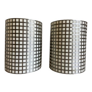 Vintage Grid Wall Lights - a Pair For Sale