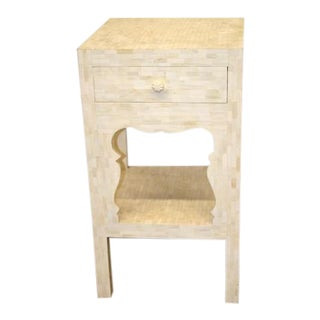 Asian Inspired White Bone Inlay Tall Side Table For Sale