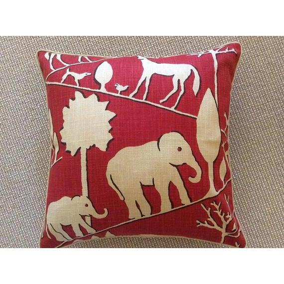 Jungle Walk in Cardinal Pillows - A Pair - Image 4 of 5