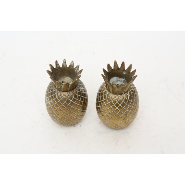Gold Brass Pineapple Salt & Pepper Shakers - A Pair For Sale - Image 8 of 9